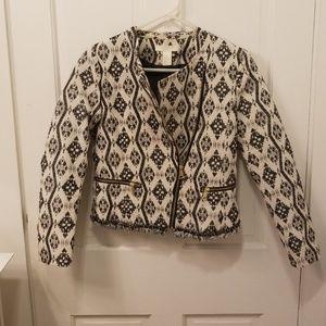 Pattern fringe bomber jacket